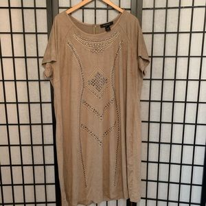 Light brown short sleeve beaded dress